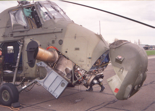 Wessex helicopter with engine exposed