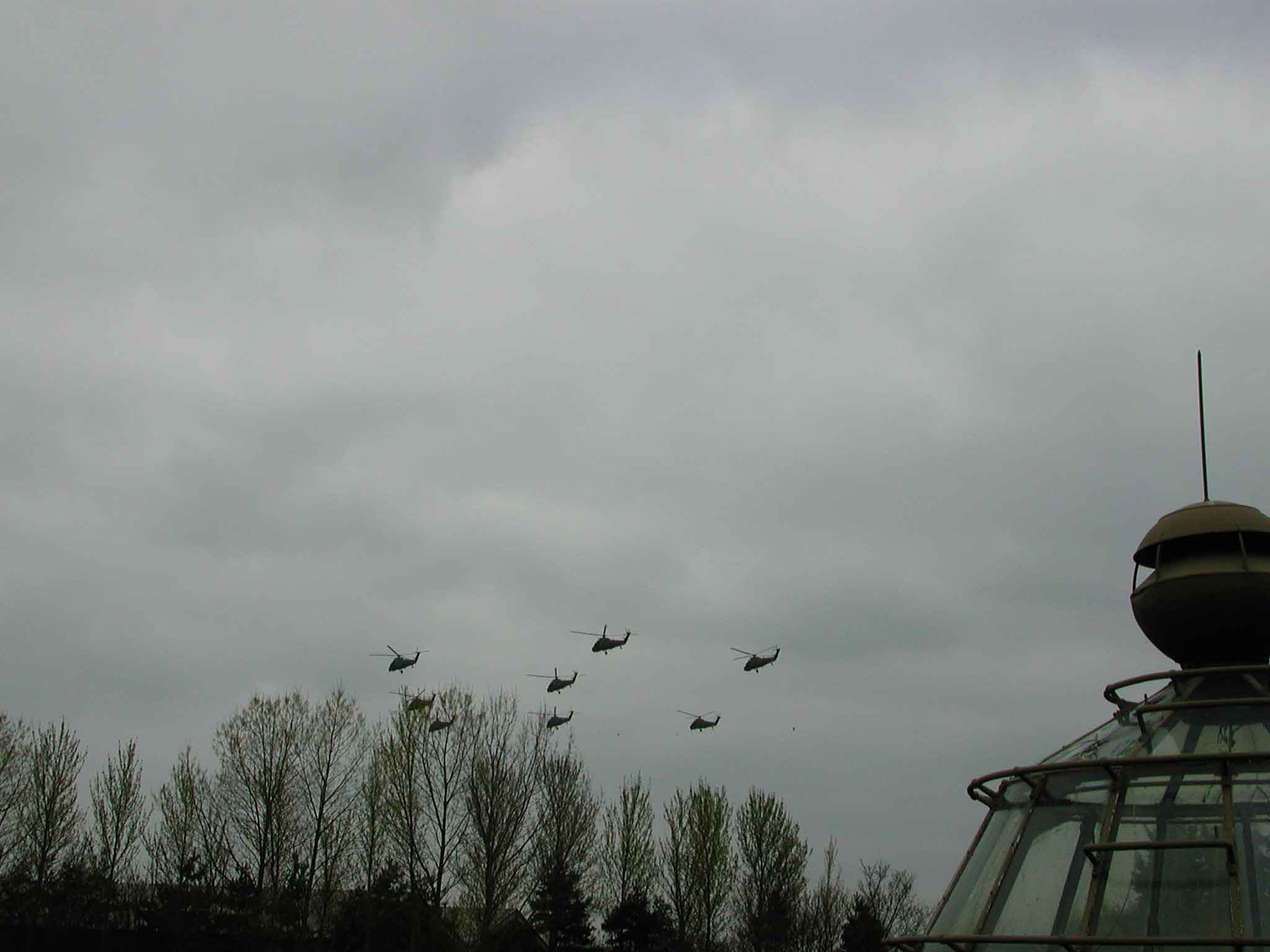72 Squadron flying past North Weald airfield