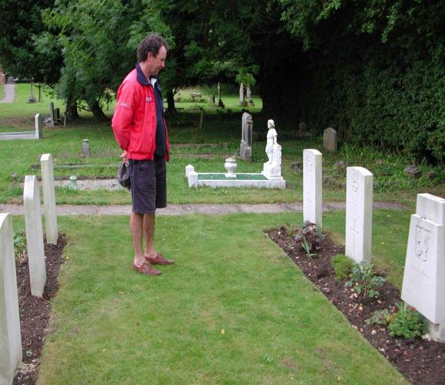 Jean Porter visiting her brother's grave at North Weald